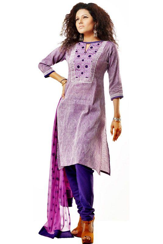 5c12d03372 Cotton Embroidery Purple Salwar Kameez | Collections... | Fashion ...