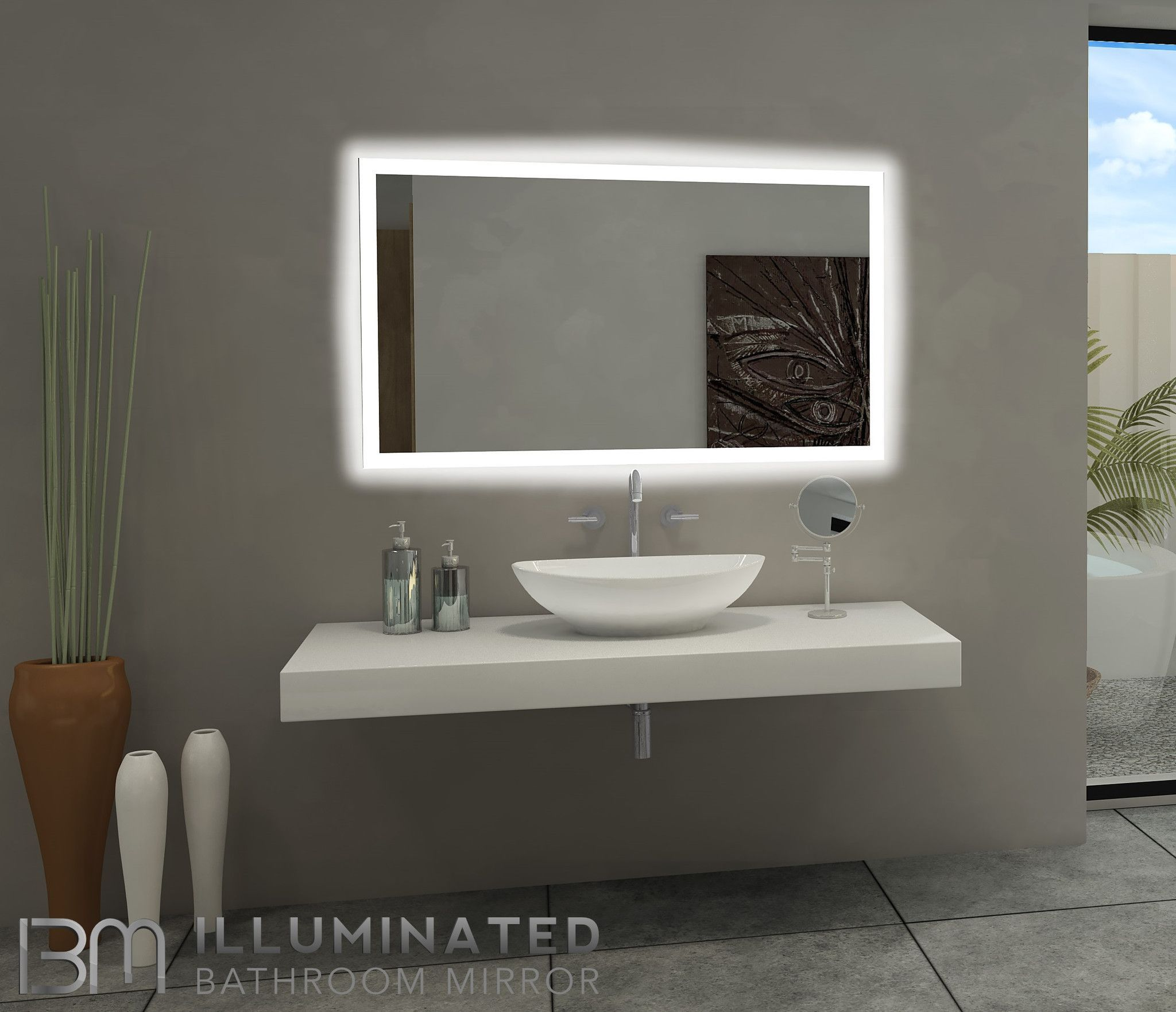 Dimmable backlit mirror rectangle x products pinterest