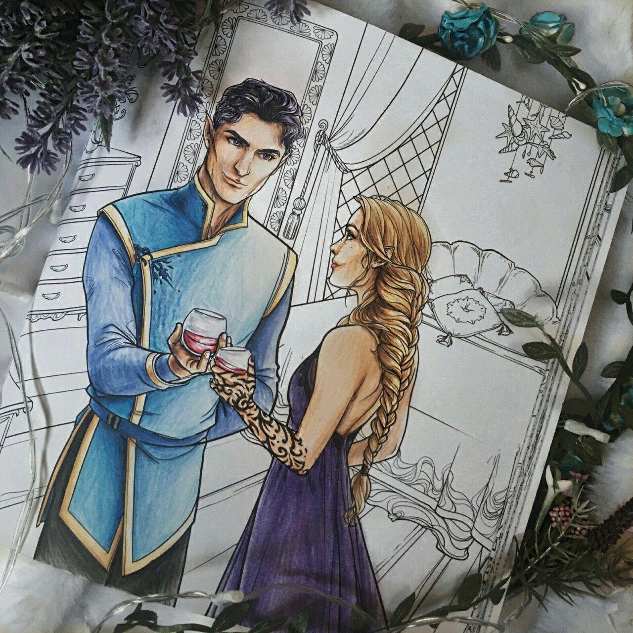 Feyre + Rhysand // ACOTAR coloring book  Coloring books, Sarah j