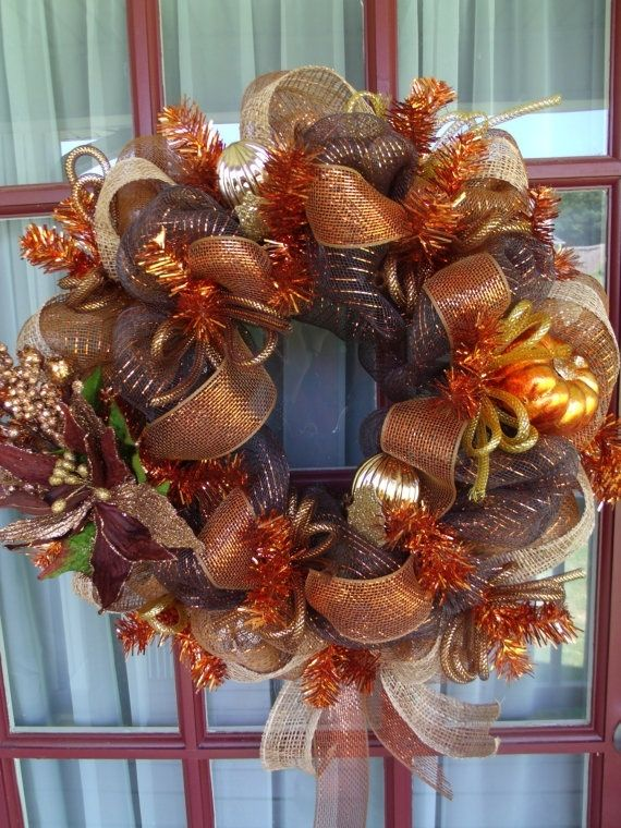 fall copper chocolate deco mesh door wreath by francis