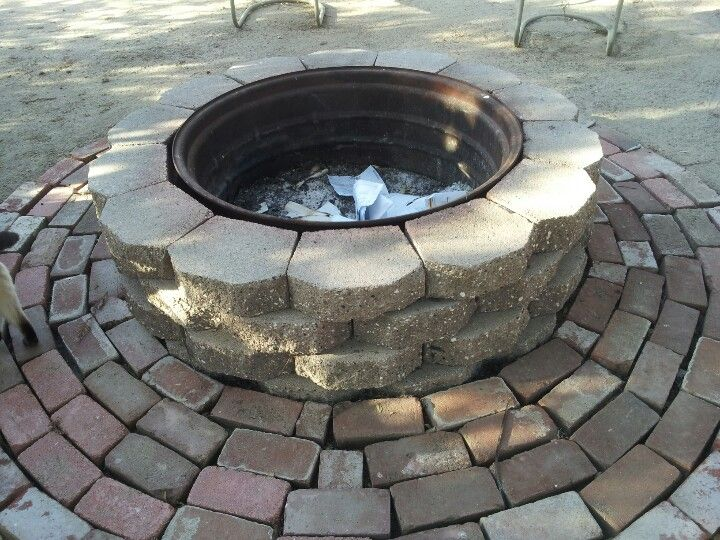 Used A Tractor Rim For The Inside Of Firepit Total Cost Of Bricks 50 00 Rim And Red Bricks Were Free Rim Fire Pit Fire Pit Backyard Wheel Fire Pit