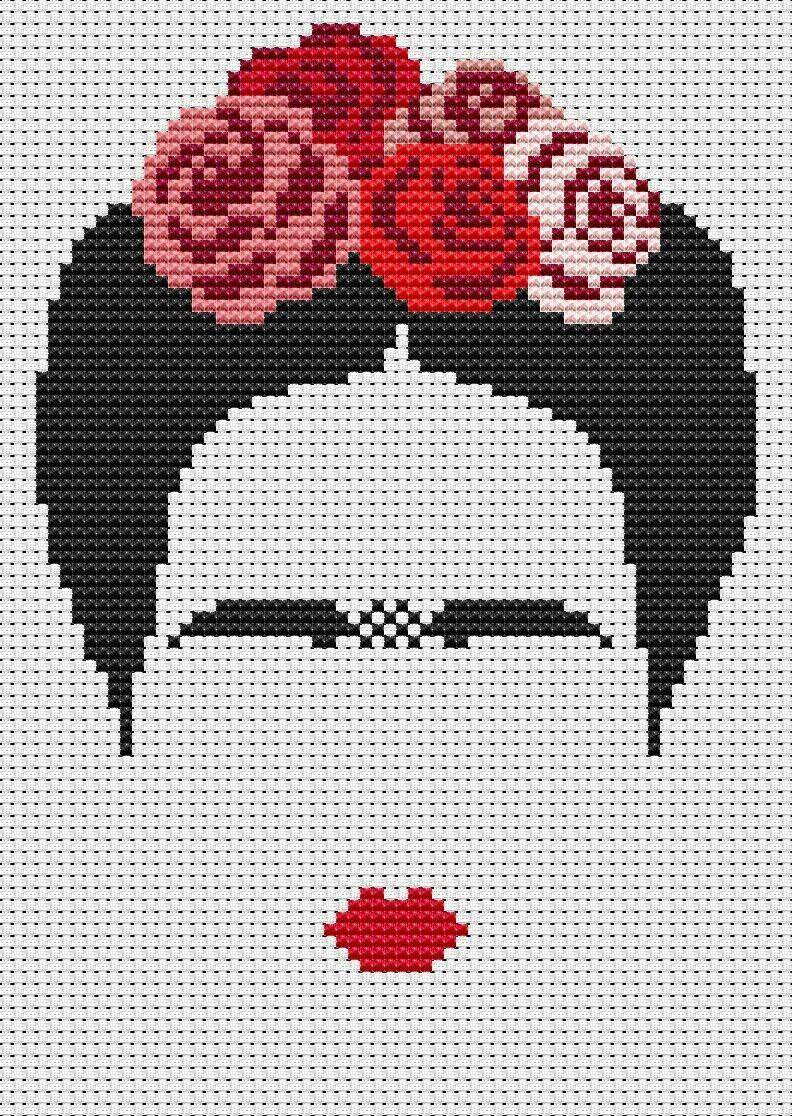 Frida Khalo cross stitch | etamin bebegim | Pinterest | Frida, Punto ...
