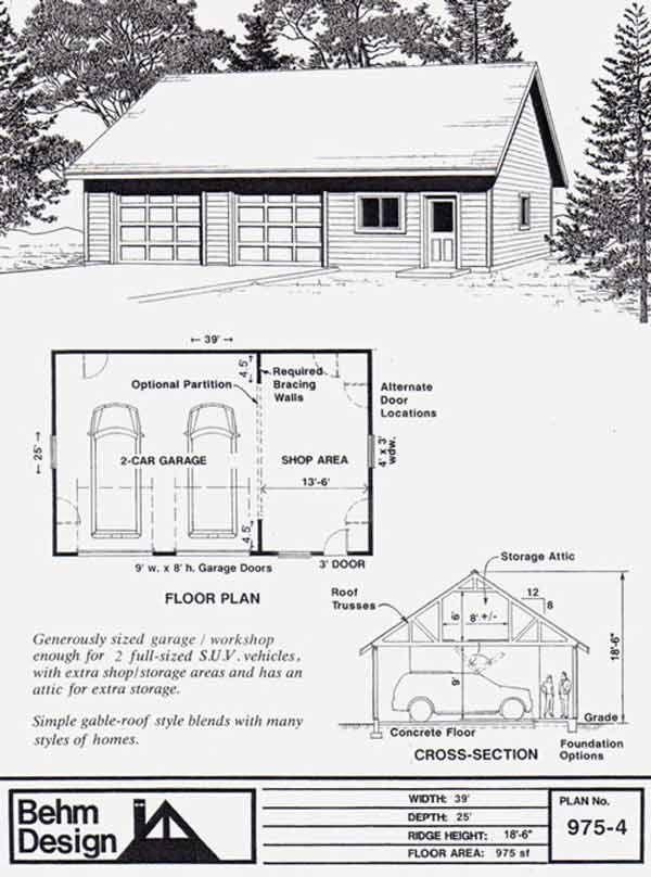 Oversized 2 car suv pdf garage plan and blueprints with for Garage plans pdf