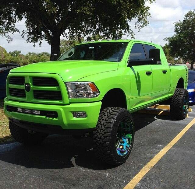 Lime green color lifted Dodge Ram Truck