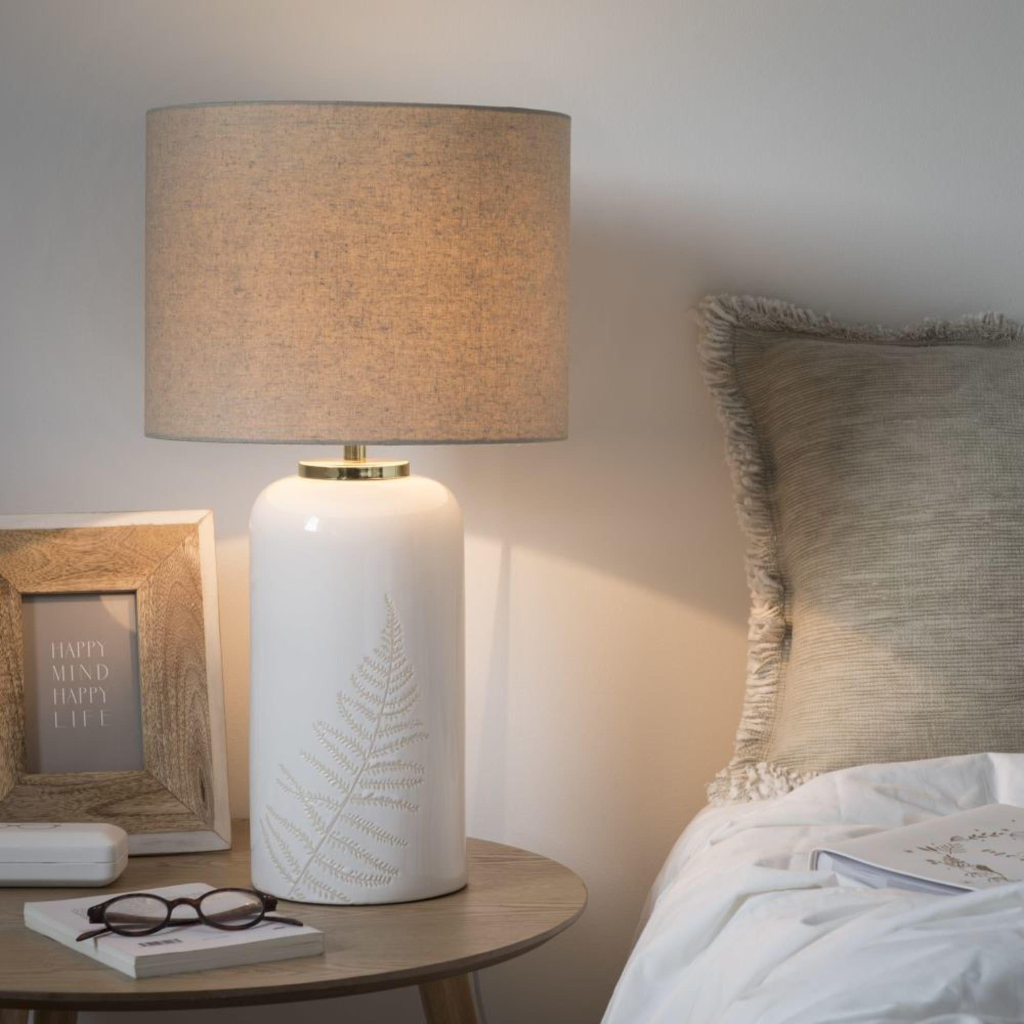 Lámpara De Mesa De Cerámica Blanca Con Pantalla Crudo Fougere Maisons Du Monde Móveis Para O Corredor Luminária Moveis Para Banheiro