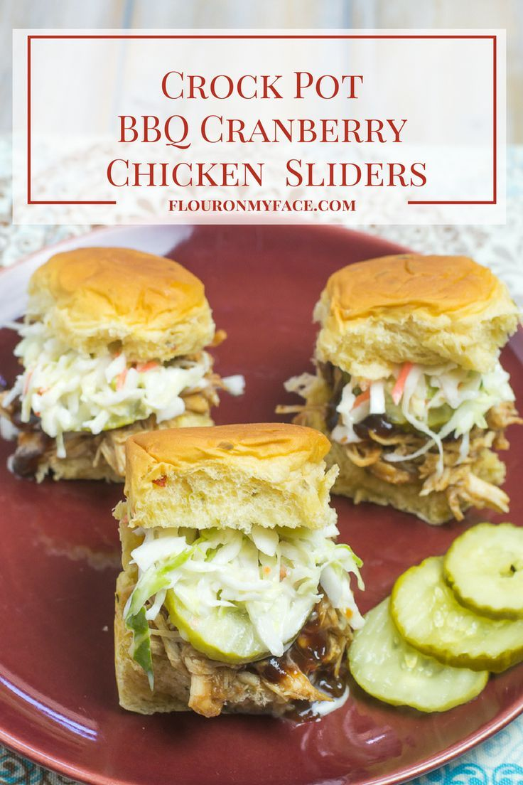 Easy 3 ingredient slow cooker recipe for Crock Pot BBQ Cranberry Chicken Sliders via http://flouronmyface.com