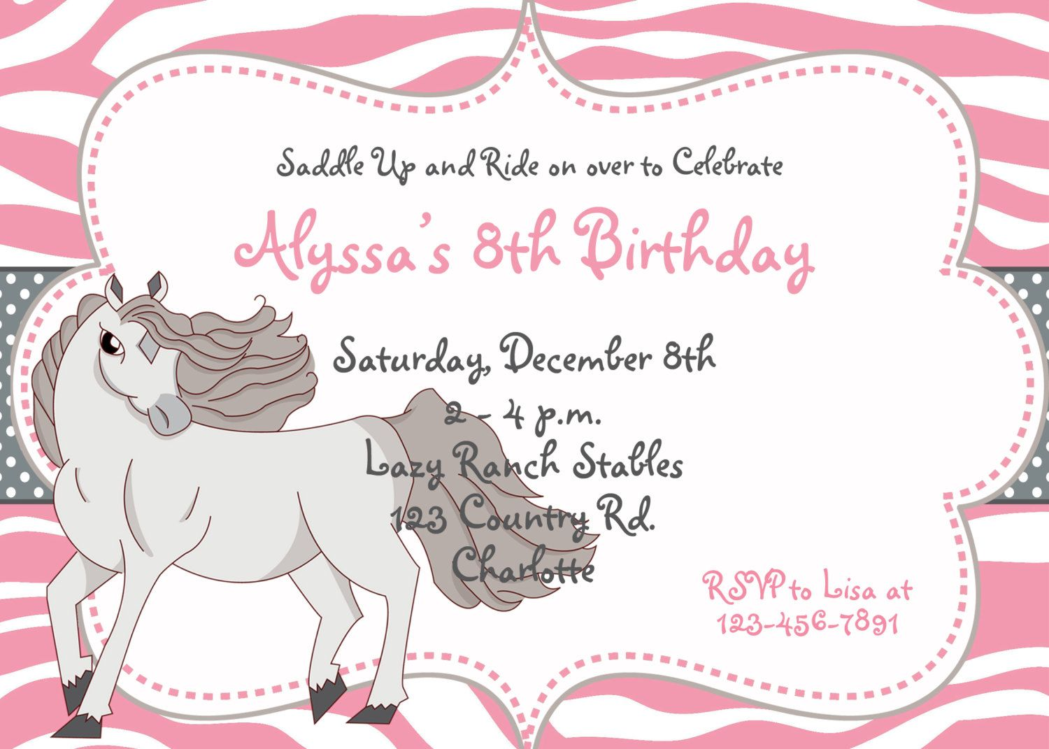 Nice FREE Template Free Printable Horse Birthday Party Invitations