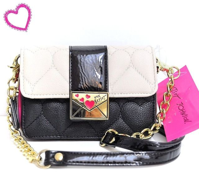 Betsey Johnson Heart Quilted Black White Pink Cross Body