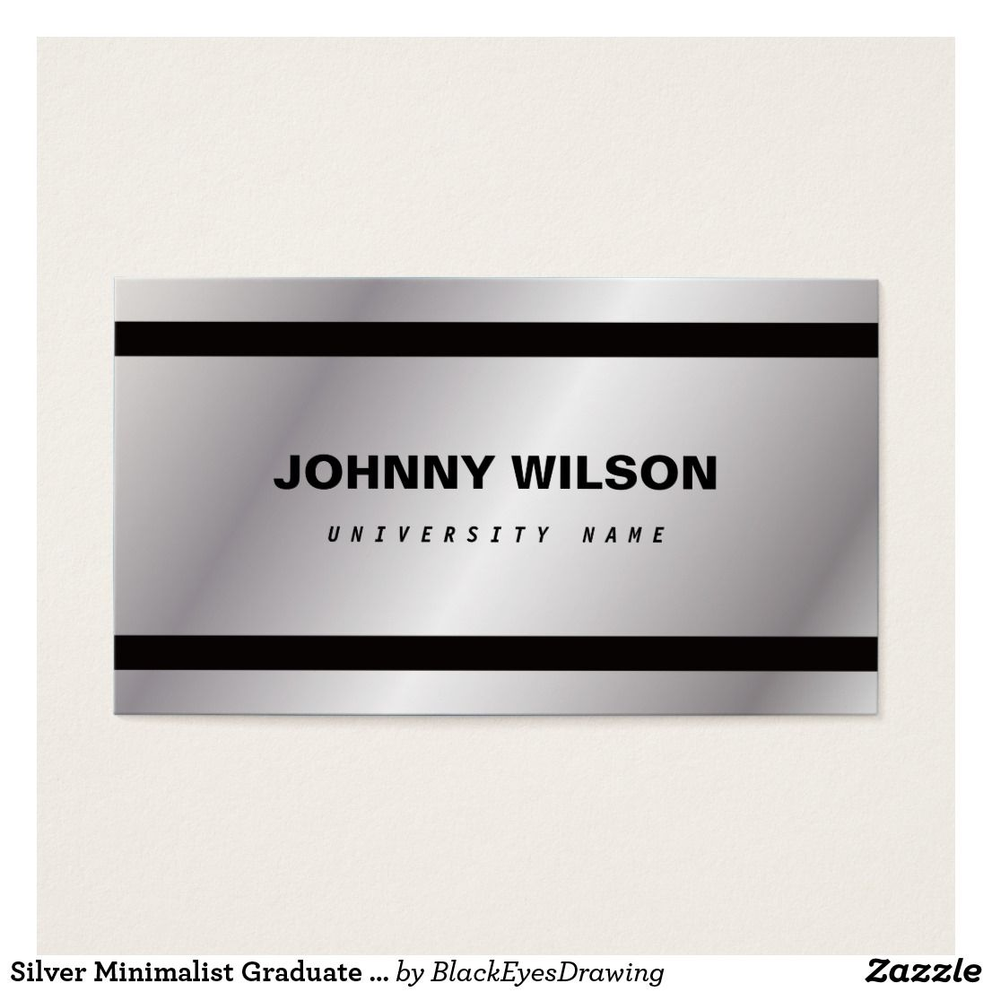 Silver Minimalist Graduate Student Business Card | Business Cards ...
