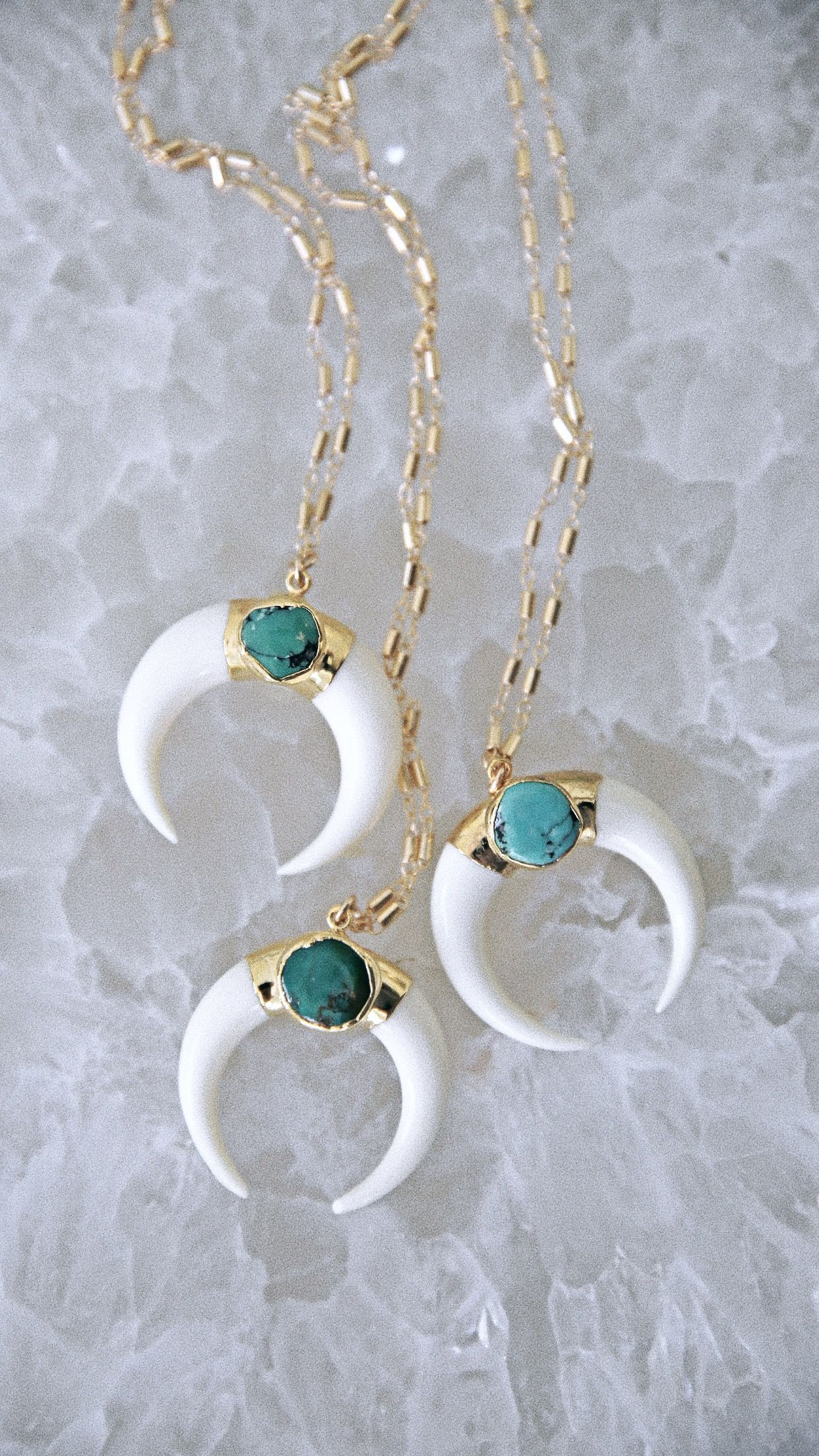 134a44cd84f6 Luna necklace - white + turquoise