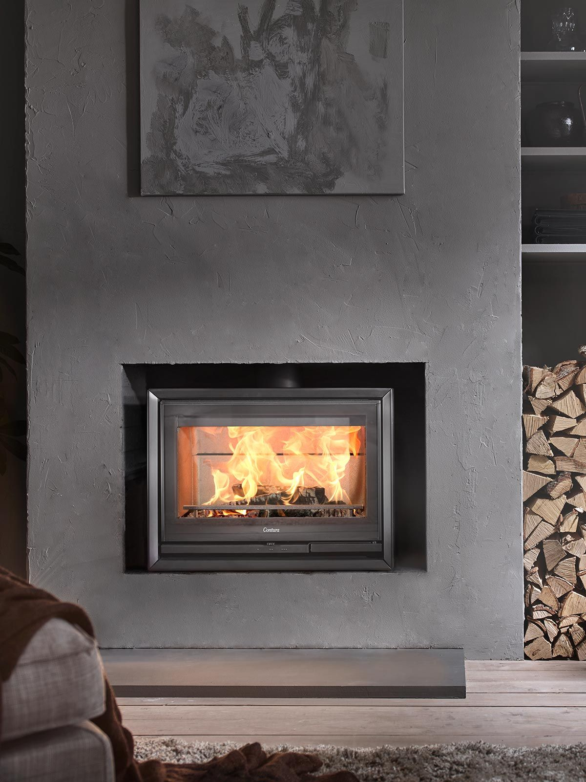 Contura 330 Front View Available In Black Metal With A Glass Door Here Inside An Existing Masonry Chimney Floorlevelfireplace Fireplace Glassdoor