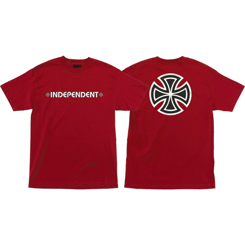 Independent Trucks RED//WHITE CROSS LOGO Skateboard Shirt WHITE MEDIUM