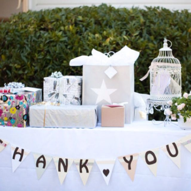 Gift Table Piled High With Presents Adorned A Big Thank You Banner See More 50th Birthday Ideas And Party At One Stop