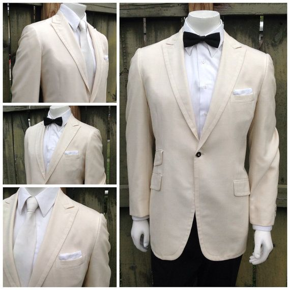 On hold Vintage Mens Cream / Off White Tuxedo Jacket - Tux Jacket ...