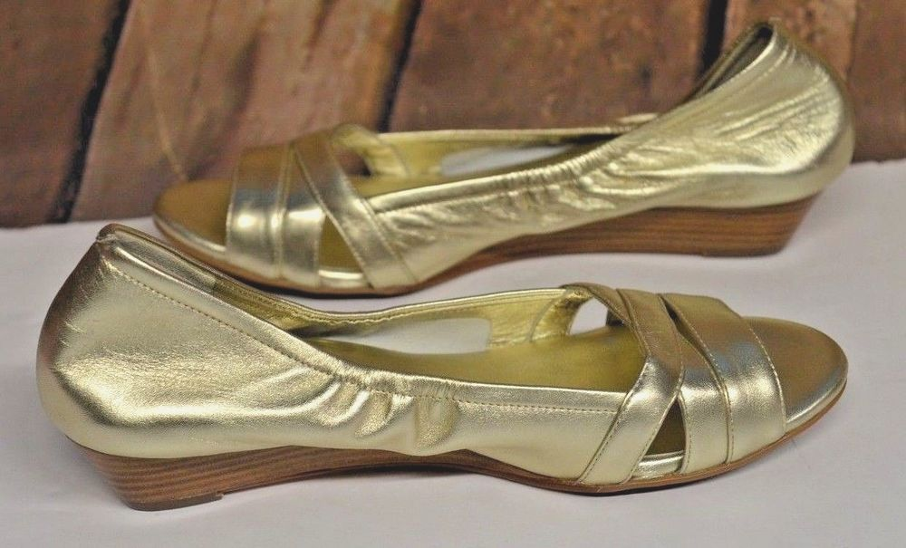 Haan Gold Nikeair Sandals Elastic Metallic Wedge Shoe Open Cole Toe HdTwqH