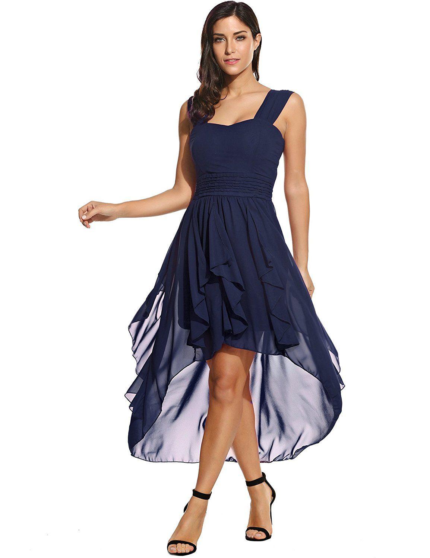 Sommerkleid - Damen Chiffon Kleid Abendkleid mit Saum ...
