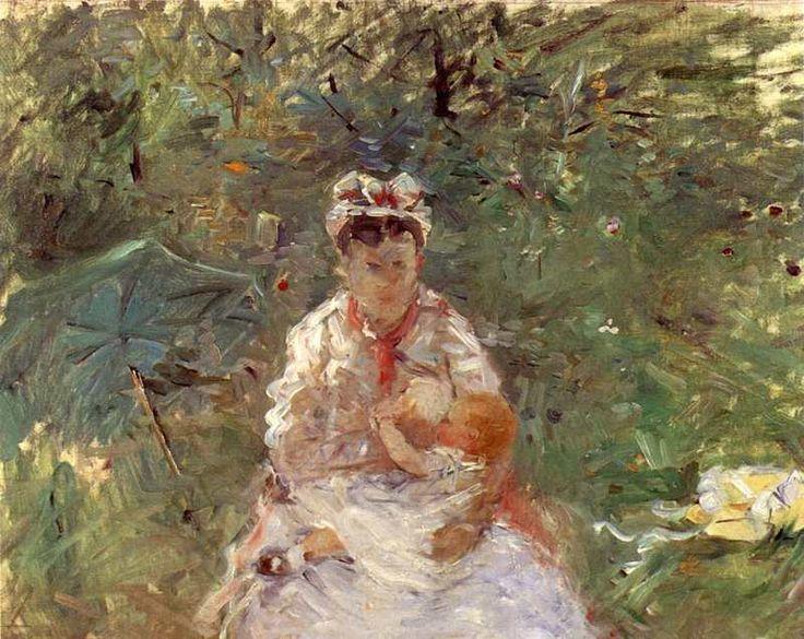 """Berthe Morisot. """"La nourrice Angele allaitant Julie Manet ..."""