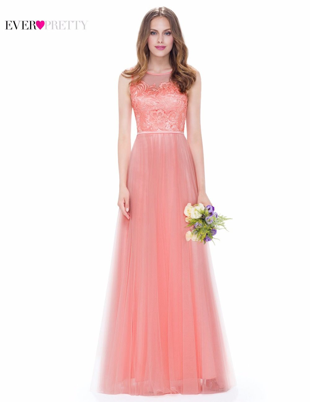 Evening Party Dress Peach Ever Pretty EP08933PE Women Elegant O-Neck ...