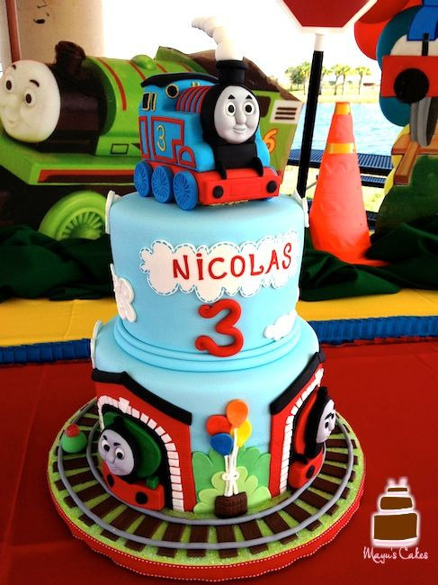 Awesome Custom Birthday Cakes Thomas The Train Birthday Cake With Personalised Birthday Cards Sponlily Jamesorg