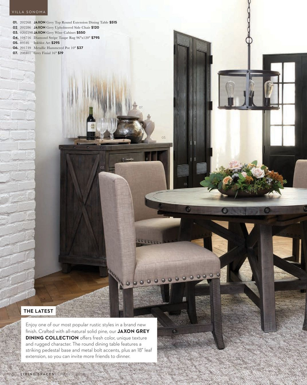 Living Spaces Spring 2018 Jaxon Grey Round Extension Dining Table Living Dining Room Extension Dining Table Dining