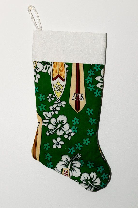 Surfing Christmas stocking by MarfysCrazyCreations on Etsy