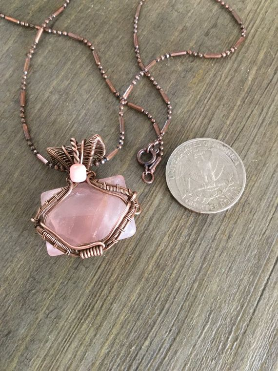 9edf5a36c Gorgeous natural pink Quartz cabochon pendant. Created and designed by me  the beautiful color of the stone is nicely complemented by the warm color  of the ...