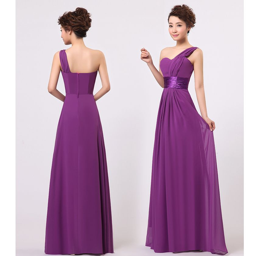 Stock One Shoulder Chiffon Formal Wedding Party Dresses Long ...