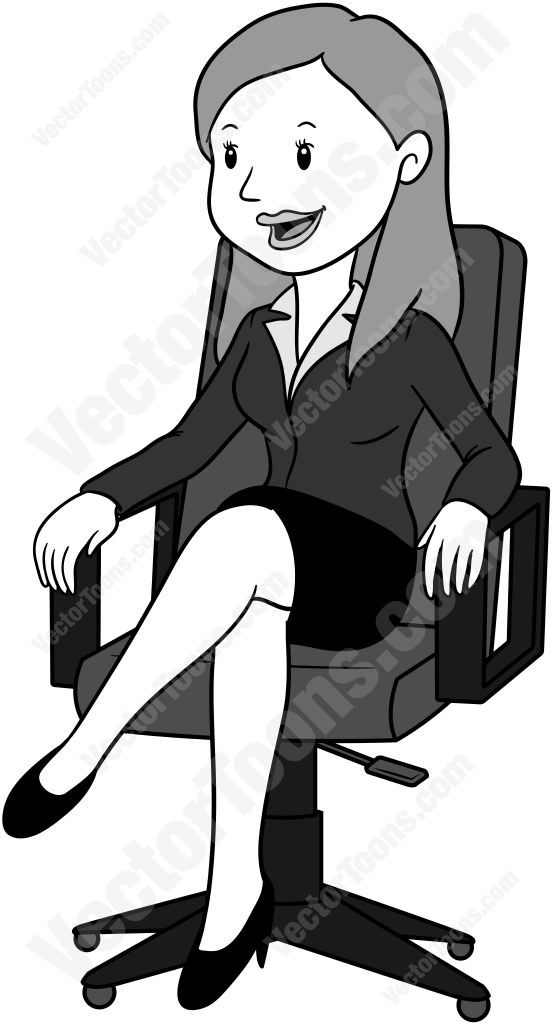 Front View Of A Woman Sitting In An Office Chair With Her Legs Crossed