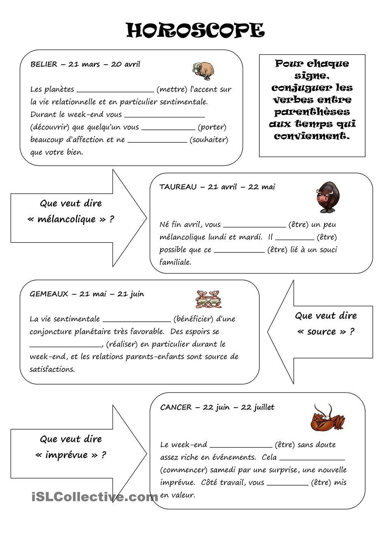 Horoscope Enseignement Du Francais Horoscope Belier Verbe
