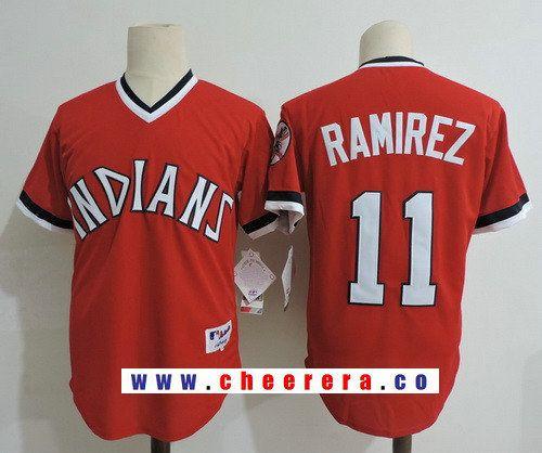 detailing 9c9d4 a2c33 Men's Cleveland Indians #11 Jose Ramirez Red Pullover ...