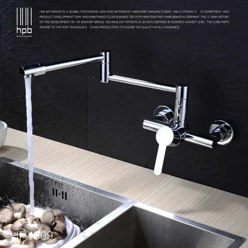 HPB Contemporary Brass Folding Kitchen Faucet Wall Mounted Sink ...