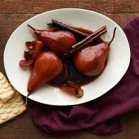 Red-Wine-Poached Pears with Shortbread Cookie Crumble. Sounds interesting.