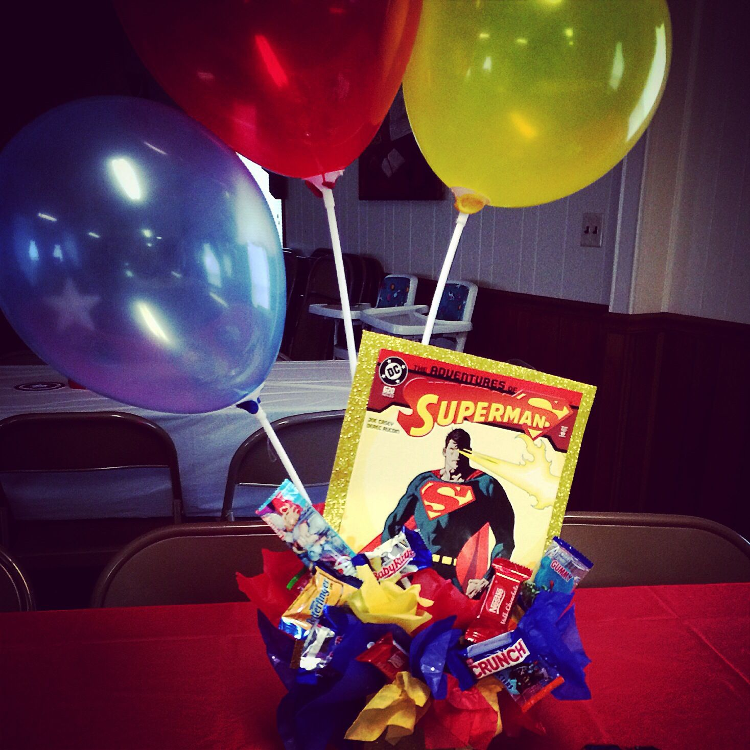 Superman t basket and table centerpiece for kids ic book