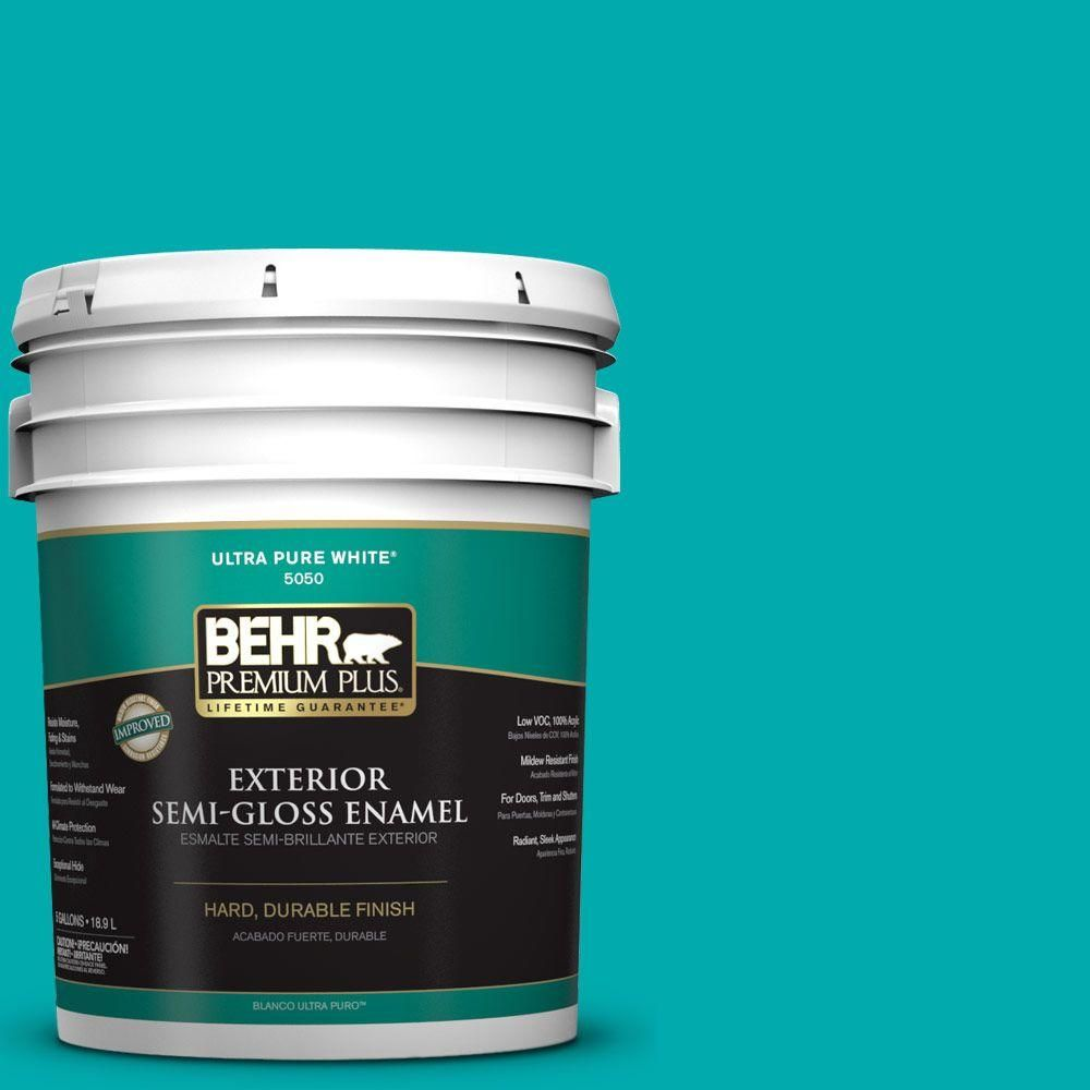 Behr Premium Plus 5 Gal P460 5 Fiji Flat Exterior Paint And Primer In One 440005 Exterior Paint Behr Exterior
