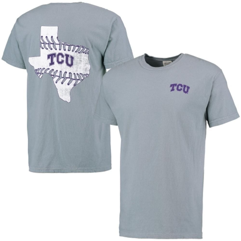 Tcu Horned Frogs Gray Baseball Laces State Comfort Colors T-shirt Riff Ram Tshirt