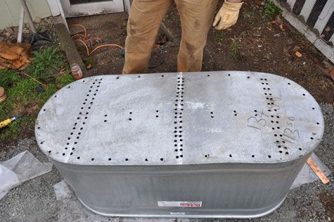 Galvanized Water Trough With Holes Drilled In Bottom To Use As A