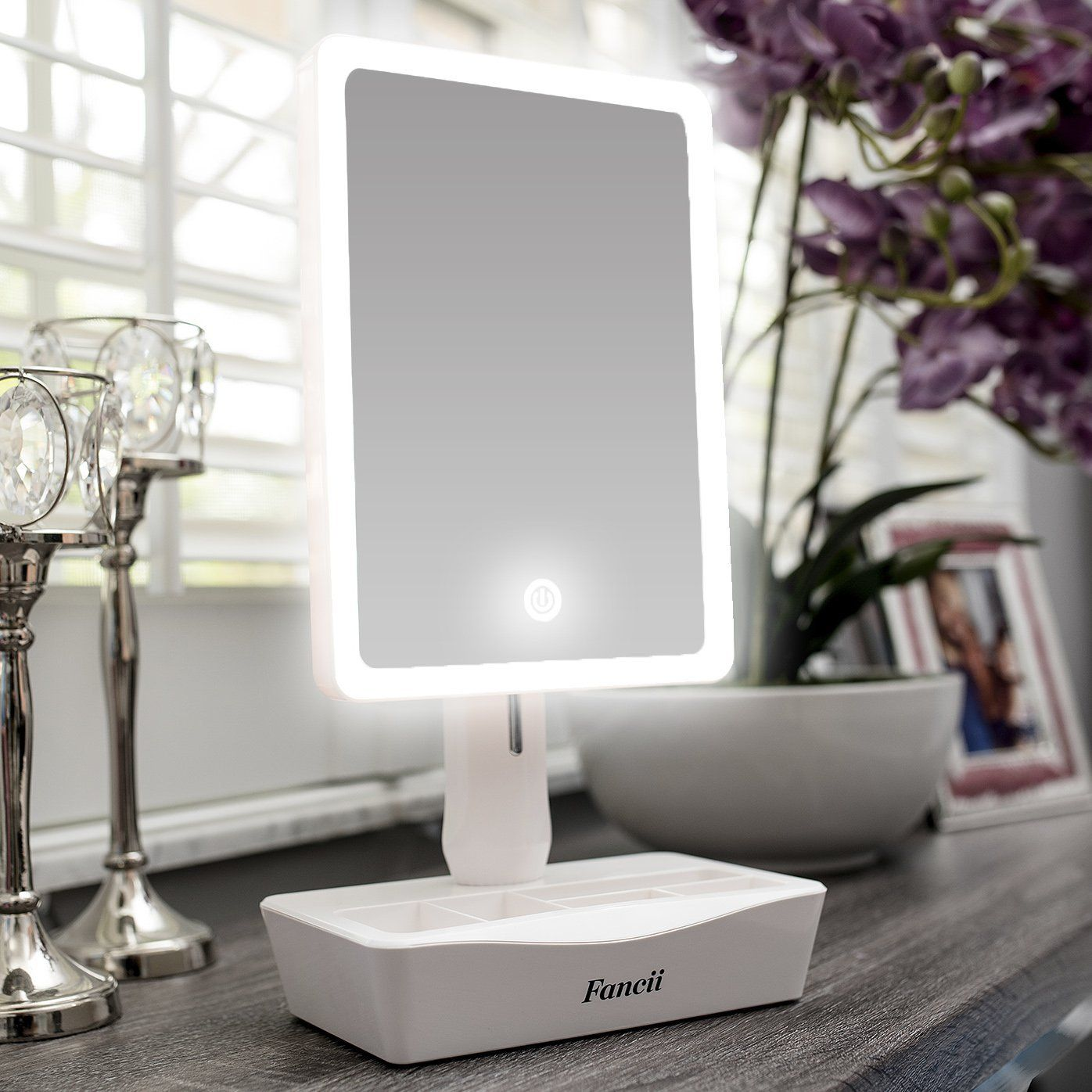 Amazon Com Fancii Led Lighted Large Vanity Makeup Mirror With 10x Magnifying Mirror Dimmable N Lighted Vanity Mirror Makeup Mirror With Lights Vanity Mirror