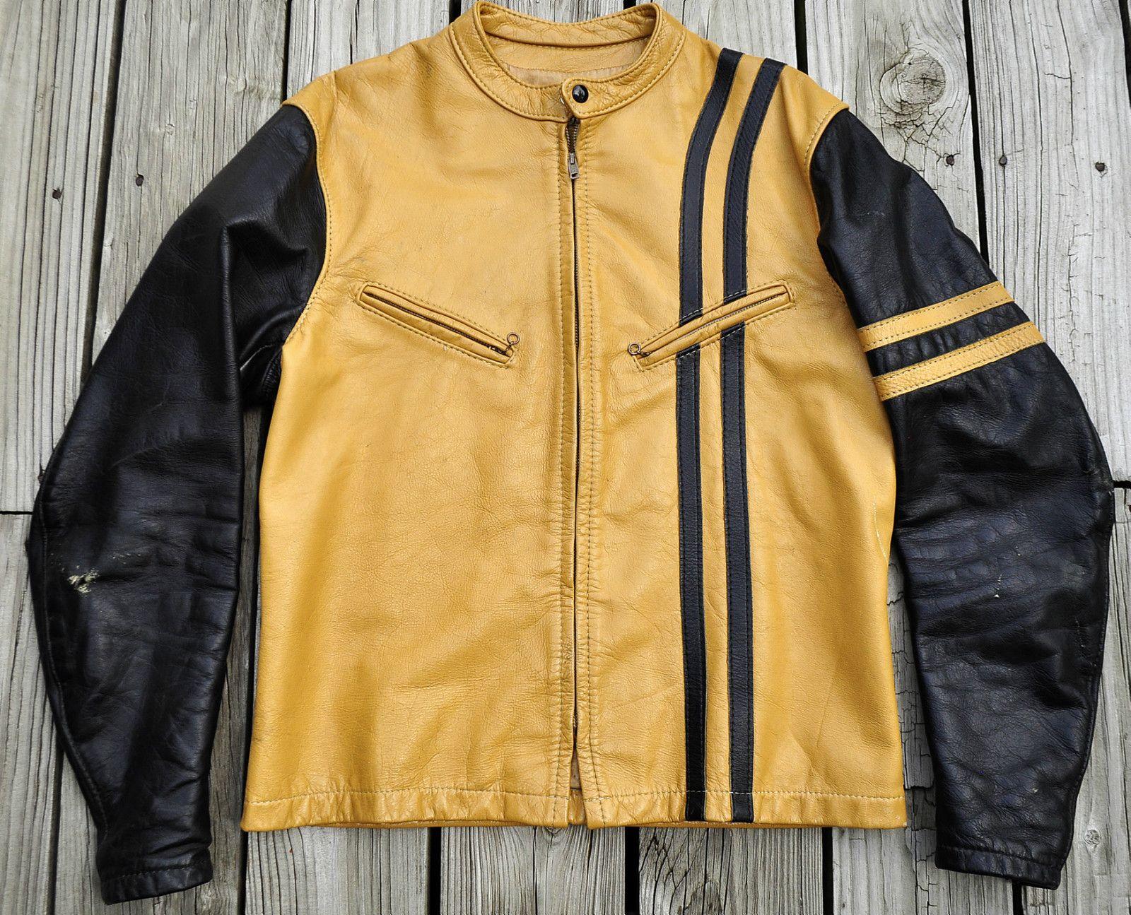 Leather jacket yellow stripe - Sold On Ebay Bates Cafe Racer Jacket An Awesome 60 S Bates Cafe Racer Jacket