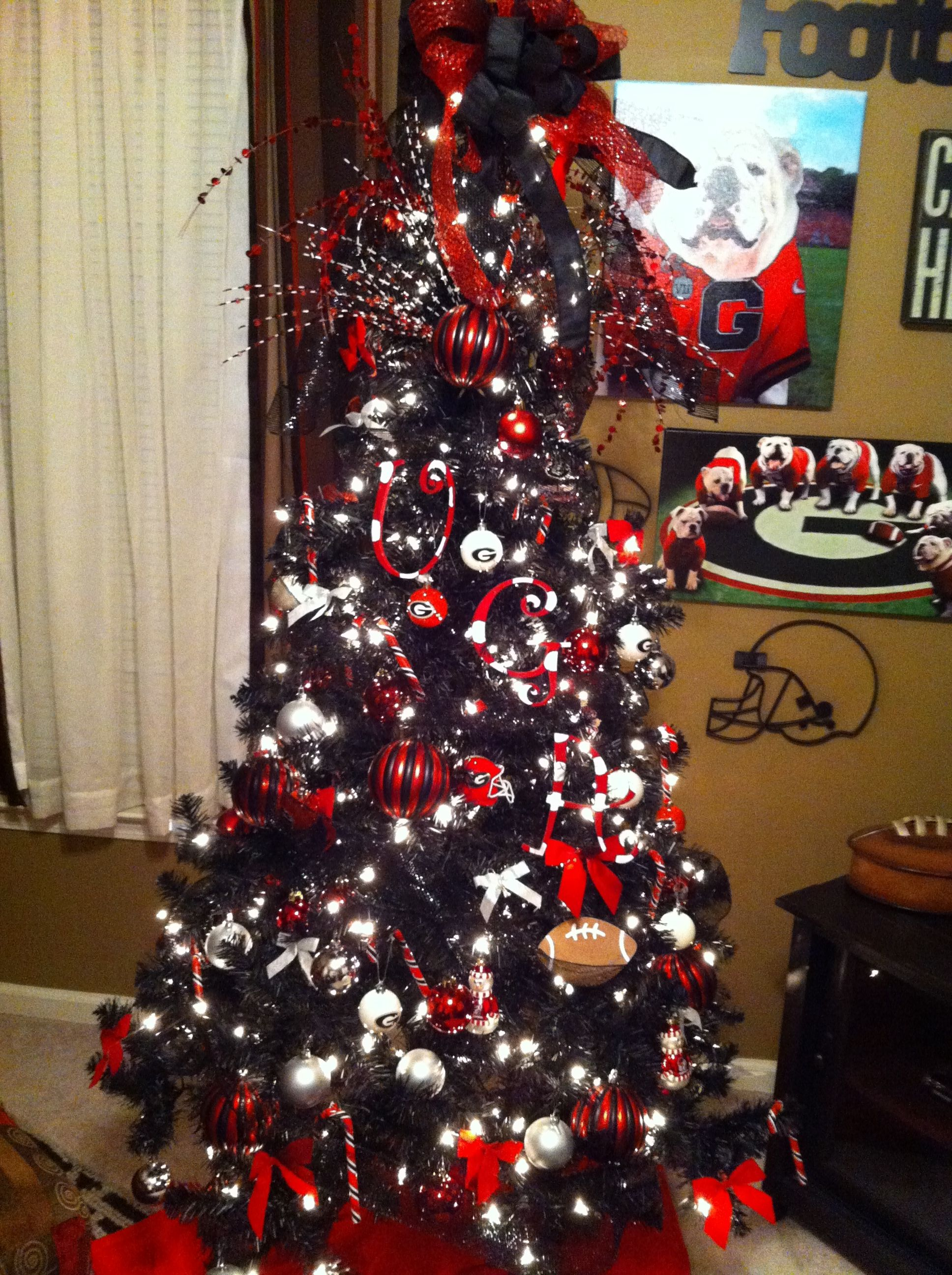 Georgia Bulldog Tree Georgia Christmas Black Christmas Trees Black Christmas