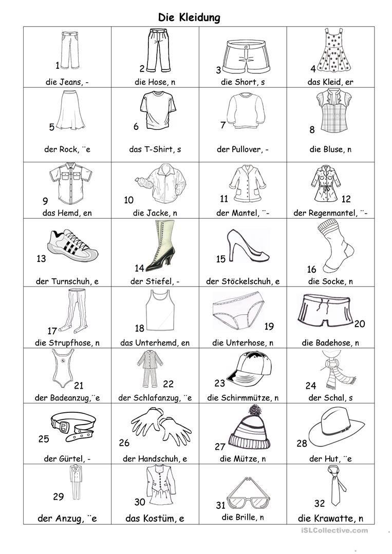 Kleider Bildlexikon Arbeitsblatt - Kostenlose DAF Arbeitsblätter