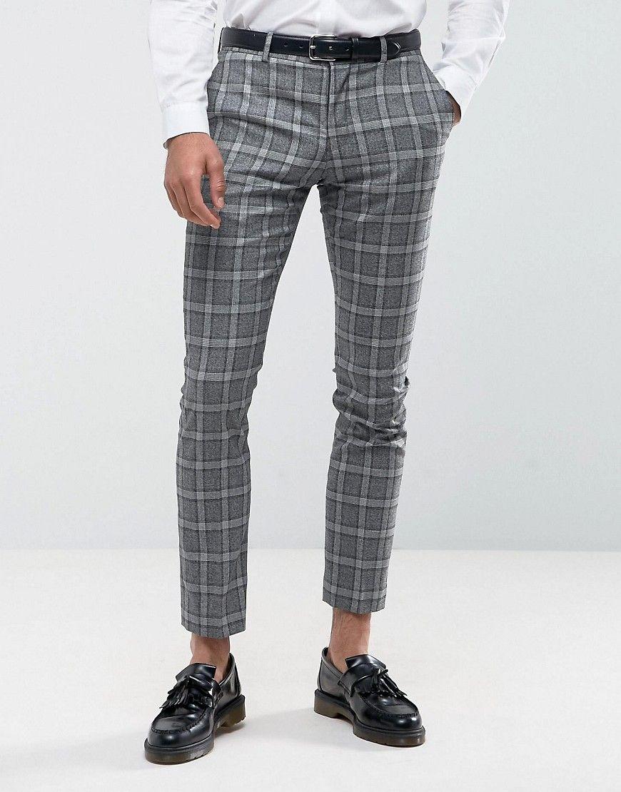 df644730 Selected Homme Slim Suit Pants In Salt n Pepper Check - Gray | Poses ...