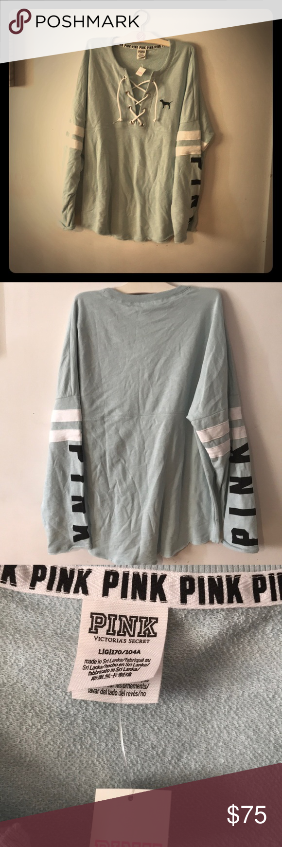 BNWT VS PINK LACE UP TUNIC TOP BNWT VS PINK LACE UP TUNIC TOP oversized pale blue lace up raw edge curved hem and sleeves PINK written in black on both sleeves & 2 white stripes I Do NOT TRADE all offers through offer option only rude comments will be blocked PINK Victoria's Secret Tops Tunics