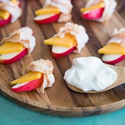 Ham and Cheese Apple Wraps with honey mustard yogurt dip.