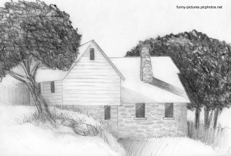Un Dibujo A Lápiz De Una Casa De Campo Tradicional Perspectiva In