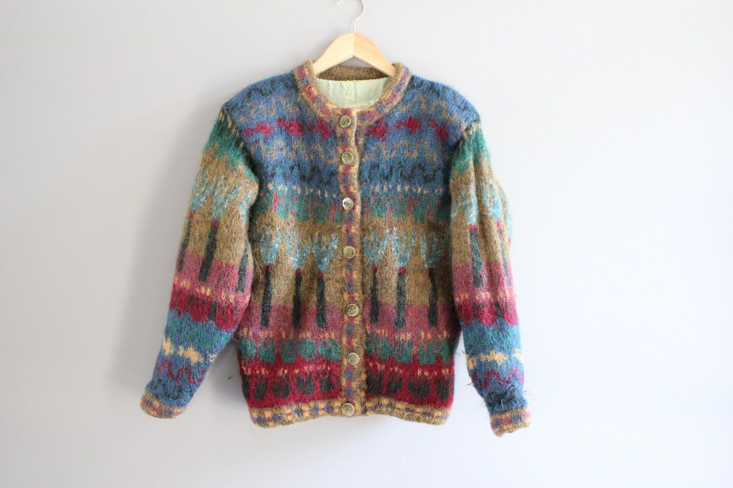 Lovely  Multicolour Long Hand Knitted  Cardigan SM
