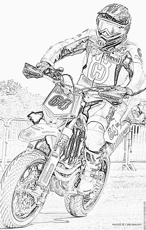 Vue De Profil D Un Joli Moto Cross Que Tu Peux Colorier Tout