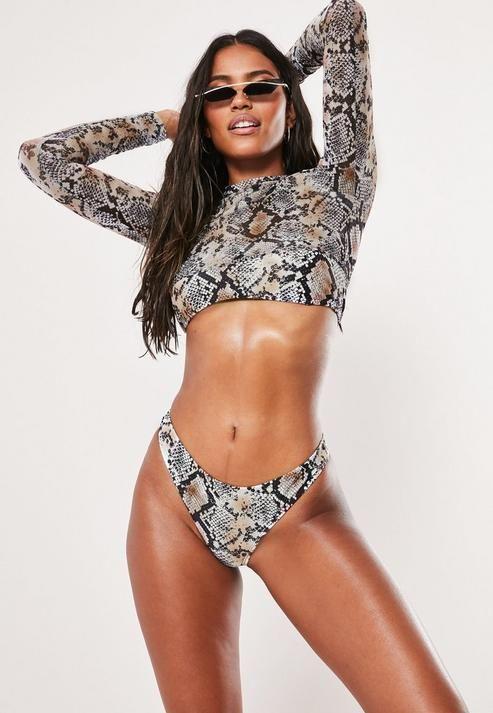 df72ac427e2 Brown Animal Print Mesh 3 Piece Bikini Set in 2019   Best casual ...