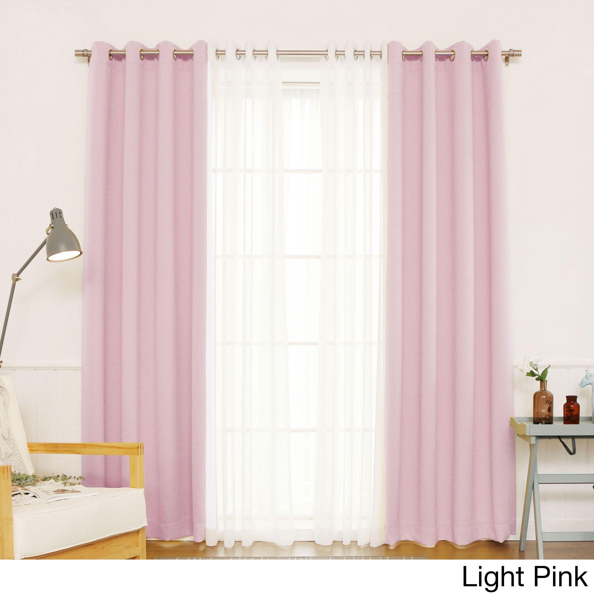 Aurora Home Mix Match Blackout And Muji Sheer 4 Piece Curtain