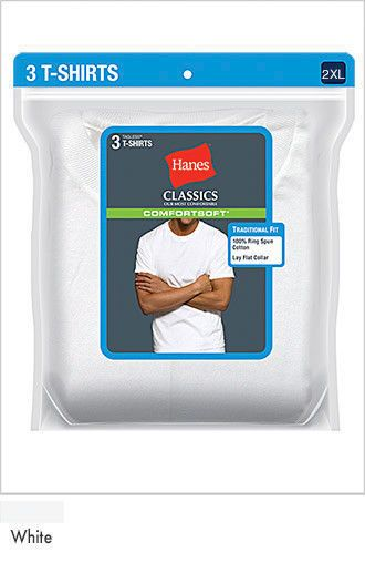 Hanes Classics Big Men's Traditional Fit T-Shirt Undershirt 2XL - 4XL 3-Pack #Hanes #BasicTee