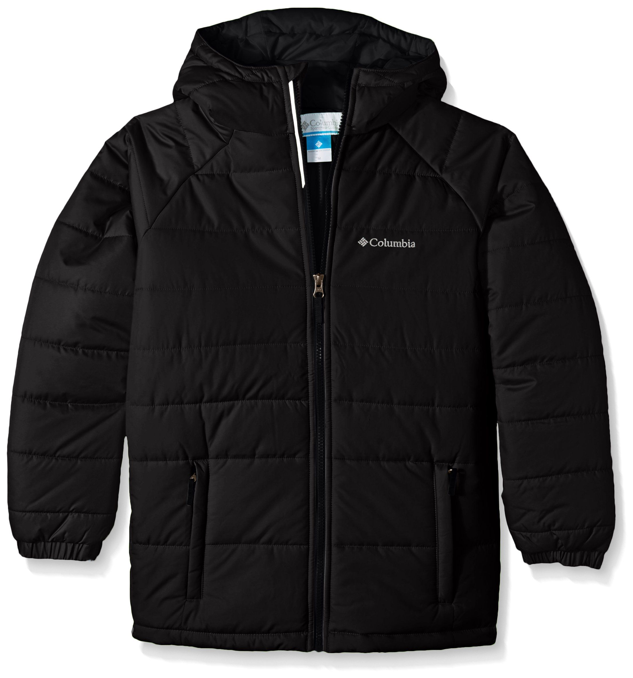 47fa11500 Columbia Big Boys' Tree Time Puffer Jacket, Black, Small. Water resistant  fabric. Insulated. Attached, adjustable taffeta lined storm hood.